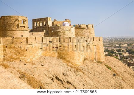 The yellow sandstone fortress of the desert city of Jaisalmer in the Rajasthan region of the Indian subcontinent