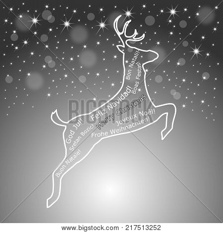 silver Merry Christmas wordcloud on a reindeer - illustration