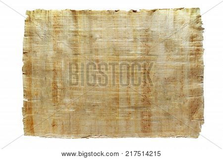 old paper - sheet of natural Egyptian papyrus isolated