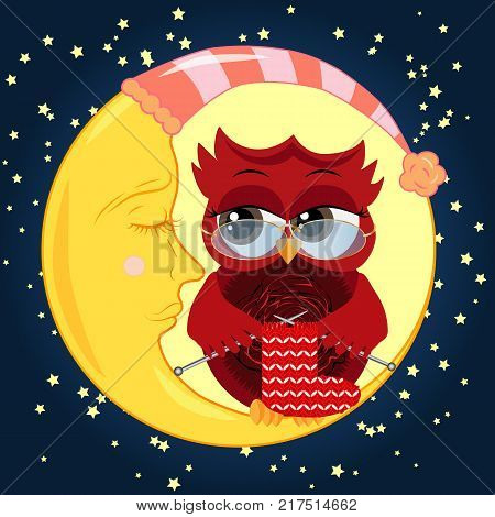Pretty cartoon, coquettish owl wearing glasses knits a sock on spokes and sits on a dozing crescent against the background of the night sky with stars