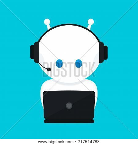 Cute funny white robot,chat bot .Vector modern flat cartoon character illustration.Isolated on blue background.Voice support service chat bot,virtual online help customer support