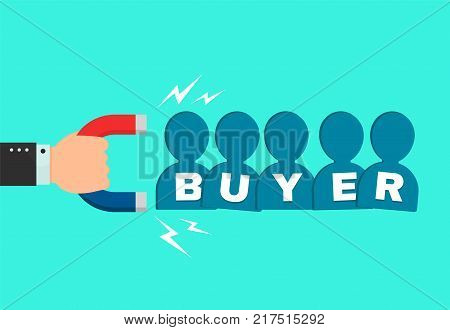 Hand of a businessman with a big magnet attracts new buyer client people sign. flat cartoon modern style illustration icon design. Successful business, buyer magnet concept