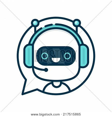 Cute smiling funny robot chat bot in speech bubble. Vector modern flat cartoon character illustration.Isolated on white background.Voice support service chat bot,virtual online help customer support