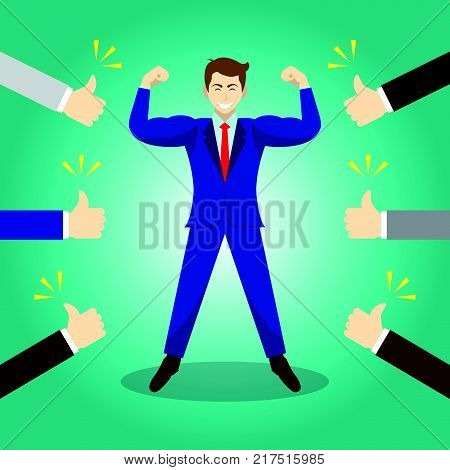 Vector Illustration Business Concept As A Strong Businessman Is Standing And Thumbs Up From Others. He Is Proud Of Himself And He Is Admired Praised Respected Cheered And Full Of Social Esteem.