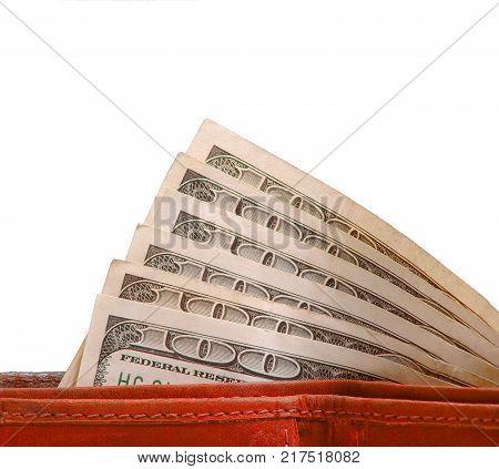 Hundreds Money in bills in leather wallet