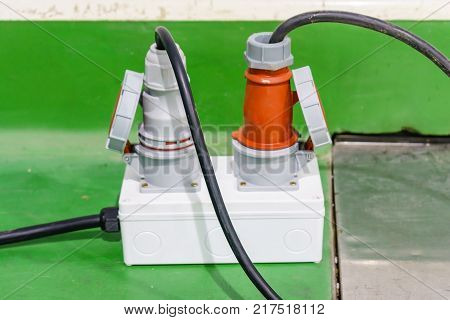 electrical power plug and cord at outdoor