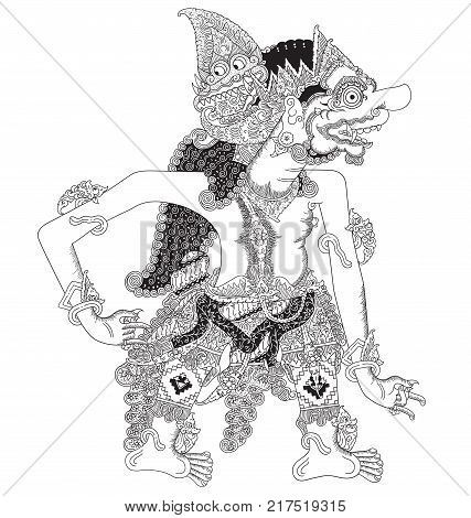 Kalantaka, a character of traditional puppet show, wayang kulit from java indonesia.