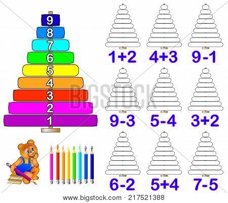 Exercises for children. Need to solve examples and paint the corresponding number of rings. Developing skills for counting and coloring. Vector image.