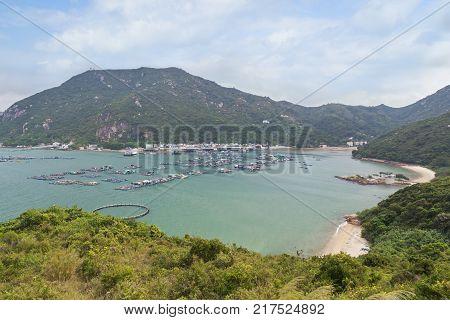 View of Sok Kwu Wan fisher village at the Lamma Island in Hong Kong, China.