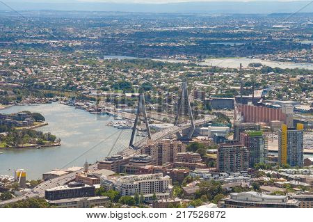 Aerial view of Sydney with Anzac bridge and north suburbs of Annandale Rozelle and Balmain. Sydney Australia