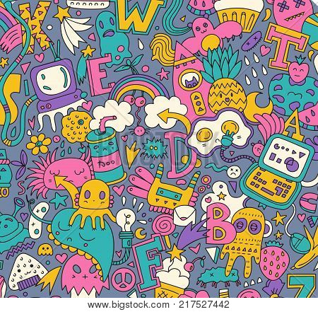 Hand drawn detailed cartoon doodle pattern with lots of different elements, letters, monsters, strange creatures , stars, hearts, rainbows ets. Vector background .