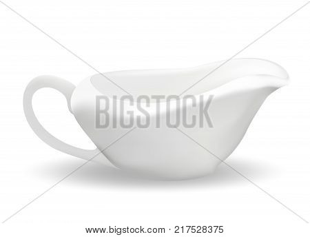 White ceramic sauceboat for sauce. 3d realistic style. Saucers. Isolated on white background. Empty dishes. Vector illustration