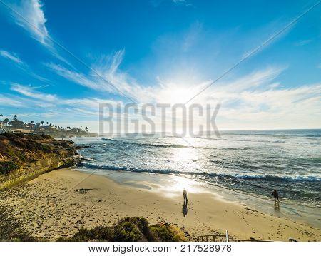 La Jolla beach at sunset. California USA