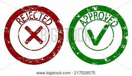 Approved And Rejected Rubber Stamp