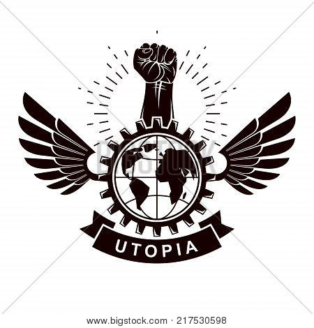 Winged vector emblem composed with raised fist holding Earth planet symbol surrounded with cog wheel circle. Proletarian social revolution abstract symbol.
