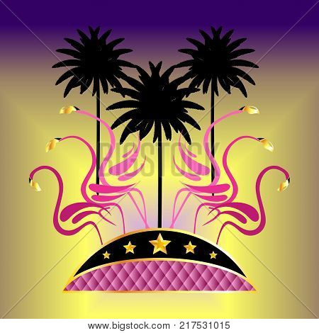 Palms and pink flamingos with golden stars