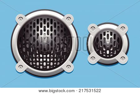 A set of audio speakers including a woofer and a tweeter. This is a scalable and editable vector drawing.