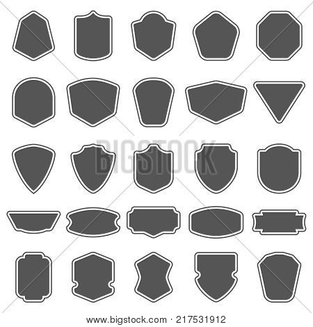 Set of blank empty dark shields. Shield badge shapes. Vintage vector frames for emblems, labels, insignia