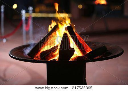 Hot burning wood. fire burns. heating. Wood burning fireplace.