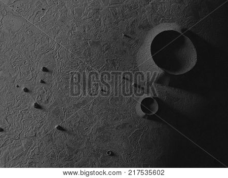 Asteroid or small plant. Craters and bumps. 3d render