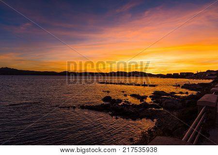 Colorful sunset in La Maddalena. Sardinia Italy