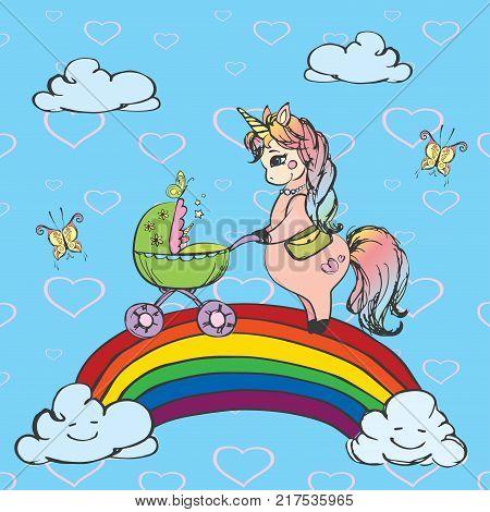 The unicorn lady with pram walking on a rainbow, funny hand drawn vector illustration