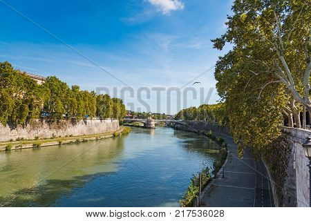 Tiber river in the city of Rome, Italy