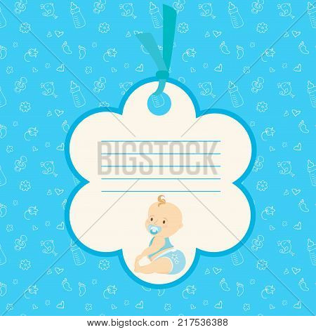 Cartoon Baby boy arrival card or shower card. Place for text. Stock vector illustration