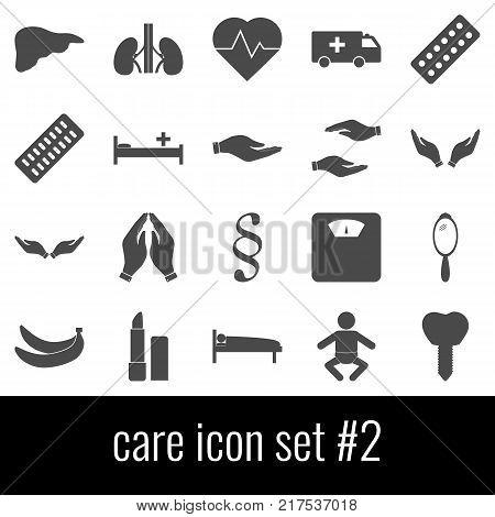 Care. Icon set 2. Gray icons on white background.
