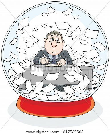 Vector illustration of a functionary working at his desk and sheets of documents flying around inside a crystal ball