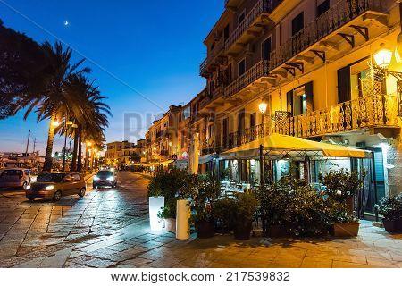 La Maddalena seafront by night. Sardinia Italy