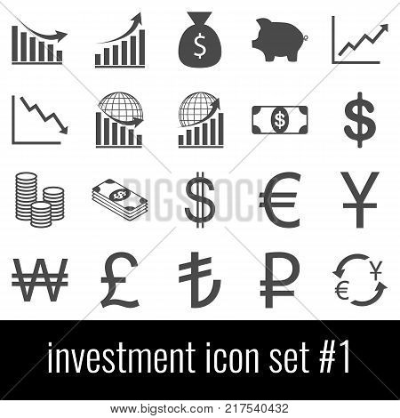 Investment. Icon set 1. Gray icons on white background.