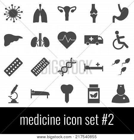 Medicine. Icon set 2. Gray icons on white background.