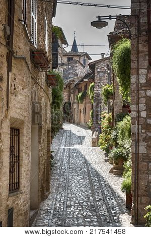 Glimpse of the historical center of the city of Spello Umbria - Italy
