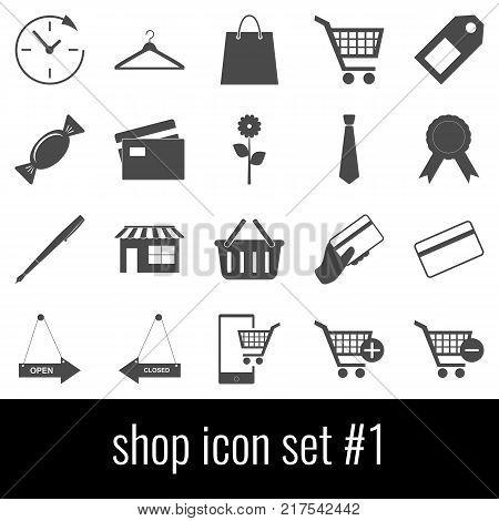 Shop. Icon set 1. Gray icons on white background.