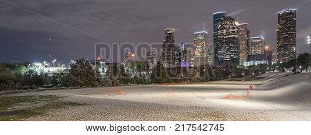 Unusual Snow In Downtown Houston At Night With Snowfall At Eleanor Park