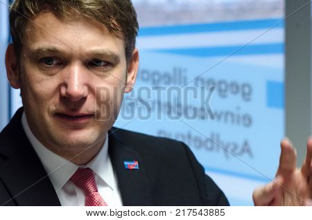 Germany, Zeitz - December 09, 2017: Andre Poggenburg At The Reopening Of The Afd Constituency Office
