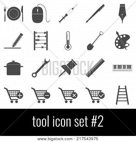 Tool. Icon set 2. Gray icons on white background.