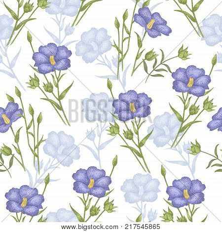 Vintage vector pattern with flowers linen on a white background. Graphic handmade textiles fabrics paper curtains curtains wallpaper vintage style.
