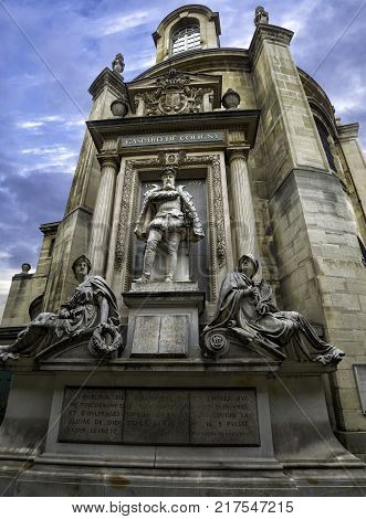 monument to Admiral Gaspard de Coligny in Paris, France. September 2017.