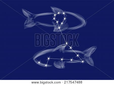 pisces. abstract zodiac sign on blue background