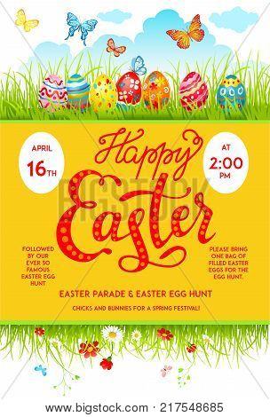 Bright Easter eggs on a grass. Easter holiday background for design card, banner, ticket, leaflet, poster and so on. Template with space for text.