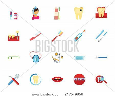 Dentist icon set. Can be used for topics like oral cavity, dental hygiene, teeth care, stomatology, oral medicine