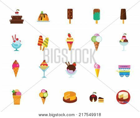 Dessert icon set. Can be used for topics like ice-cream, cake, food, sweets