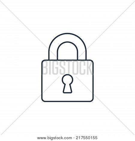 Lock icon outline vector. Padlock simple symbol isolated on white background.