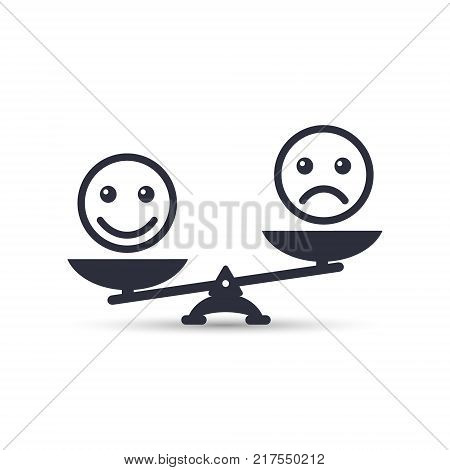 Smiley emoticons different mood on scales vector icon. Positive attitude as advantage. Happiness vs sadness.