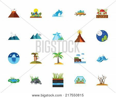 Nature with scenics icon set. Can be used for topics like mountain, natural area, season, landscape