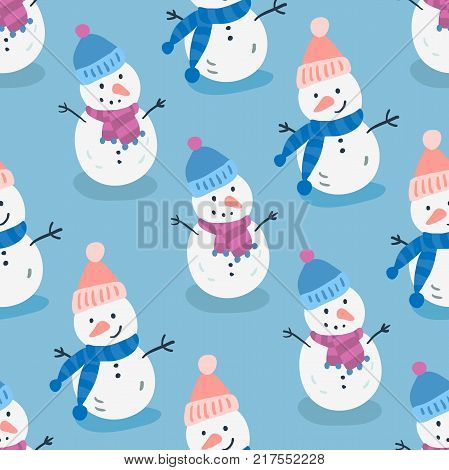 Merry Christmas Happy Christmas companions. Snowman. Christmas seamless pattern in vector. Winter season illustration with snowman