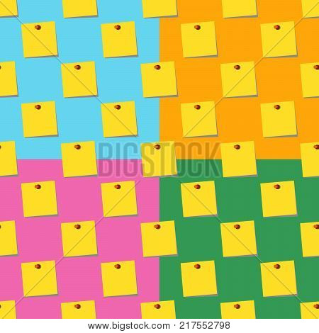 sticky notes memo yellow Seamless pattern set on colors backgrounds. Flat design  Illustration
