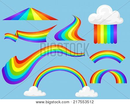 Different style rainbow color strips after rain optical sky effect vector set. Nature sign white cloud rainbow spectrum, summer graphic abstract symbol. Weather curve rainbow.